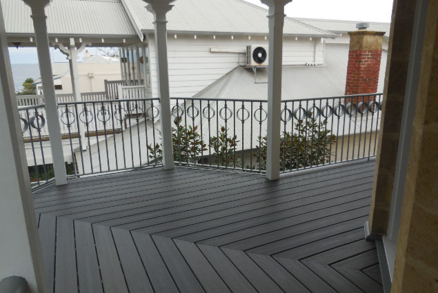 Beautiful Painted Timber Decked Balcony With Metal Balustrade - Deck Builders Perth