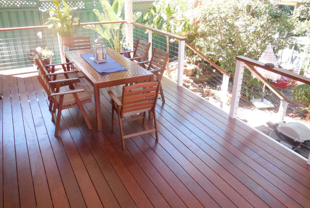 Stunning Natural Timber Decking, Table Setting & Stair Railing - Deck Builders Perth