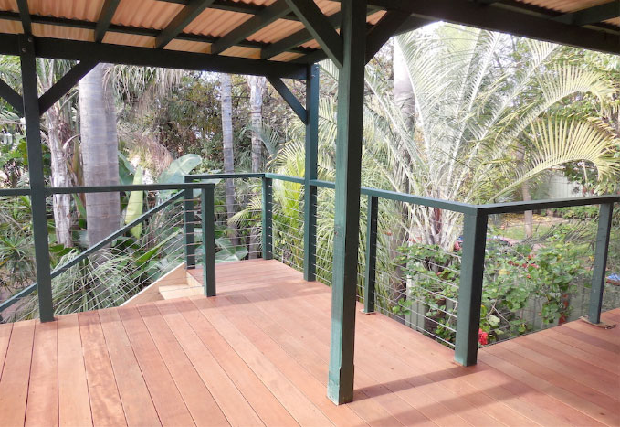 Beautiful Natural Timber & Green Painted Timber Covered Decked Covered Balcony - Timber & Wire Balustrades & Matching Stairway - Perth.