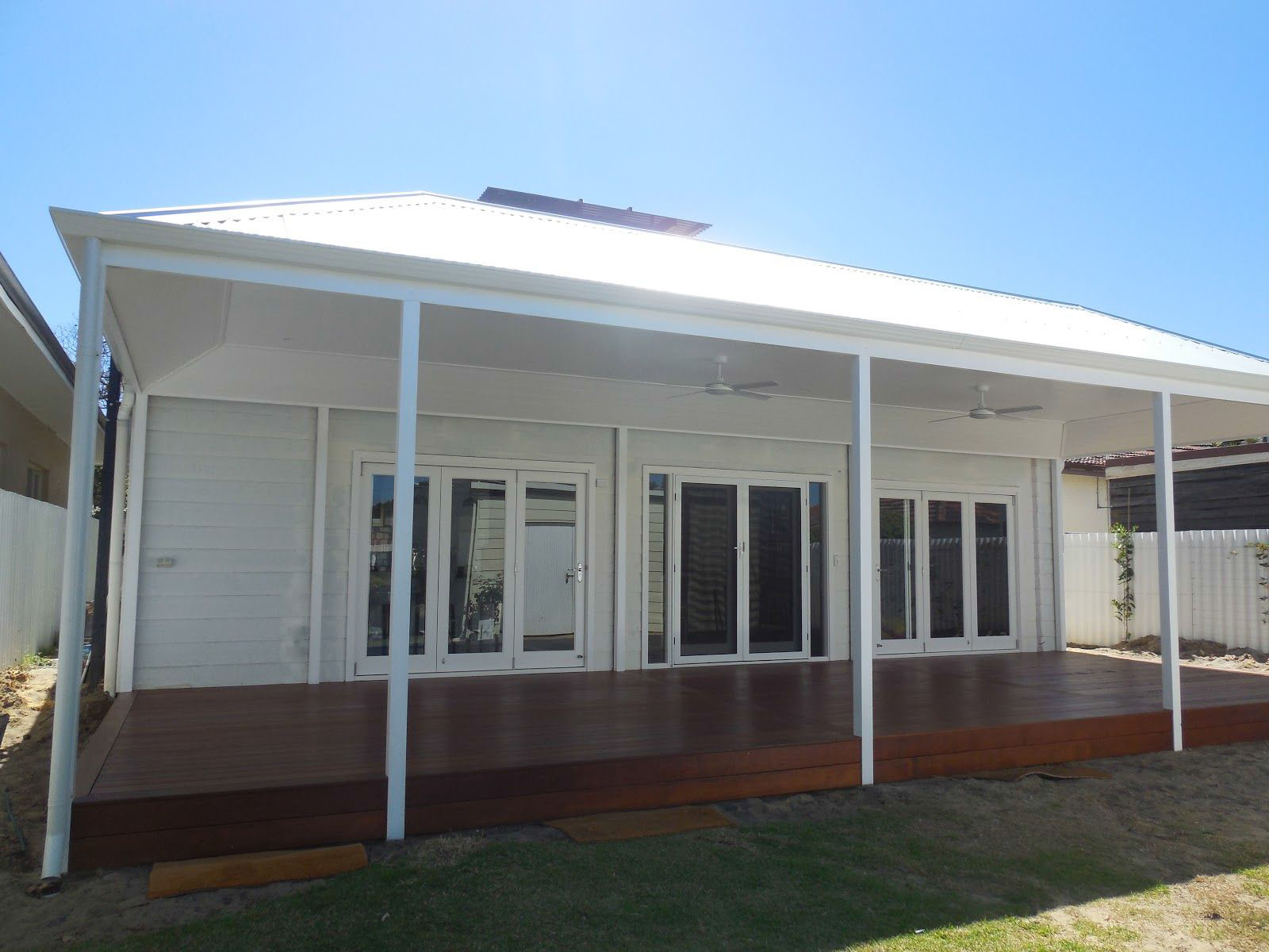 Large White Patio Over A Rich Natural Timber Deck - Perth