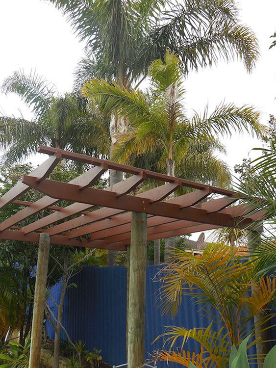 Stylish Brown Pergola On Poles